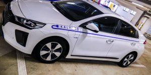 Reklamný polep elektromobilu Hyundai IONIQ 2 pre Kalypso Bratislava - TwoAgency